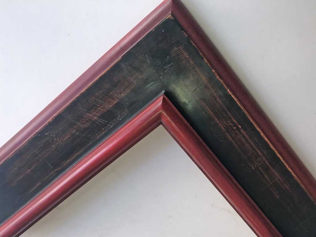Plat noir antique rouge chine